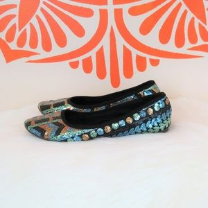 CL Laundry Blue Green Aztec Sequin Flats